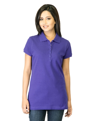 United Colors of Benetton Women Navy Blue Polo T-shirt