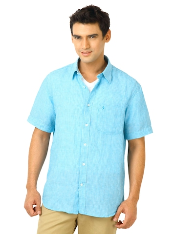 Indian Terrain Men Brett Blue Shirts