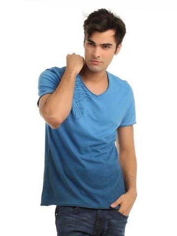 Adidas Men Blue Printed T-shirt