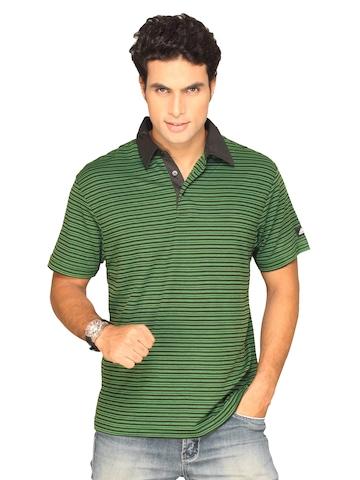 Adidas Men's Strip Polo Black Green T-shirt