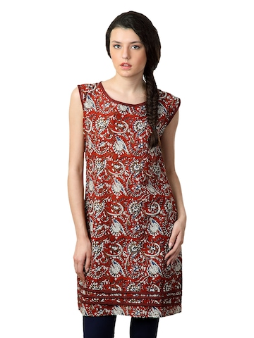 Alma Women Red Printed Kurta