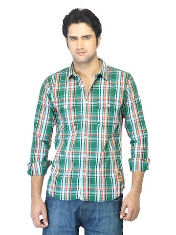 Basics Men Green Checked Slim Fit Shirt