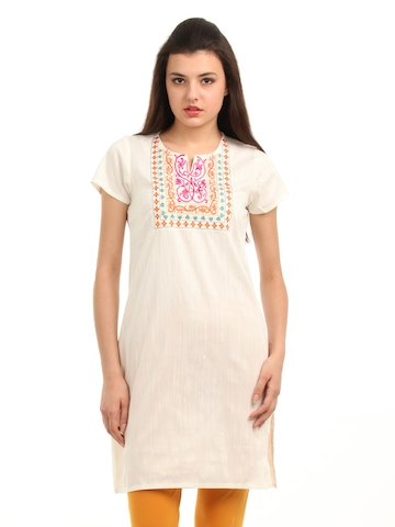 Folklore Women Cream Kurta