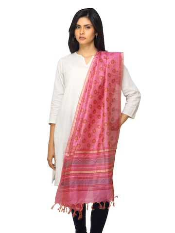 Fabindia Women Pink Silk Dupatta