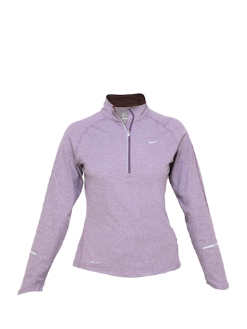 Nike Women Solid Purple Sweatshirt