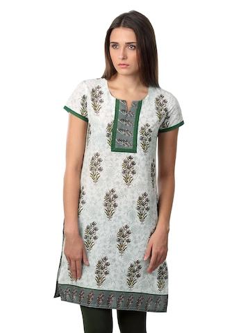 Vishudh Women Green White & Green Kurta