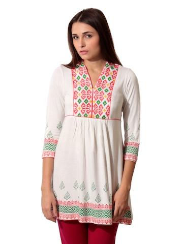 Global Desi Women Cream Tunic