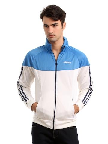 Adidas Men White & Blue Jacket
