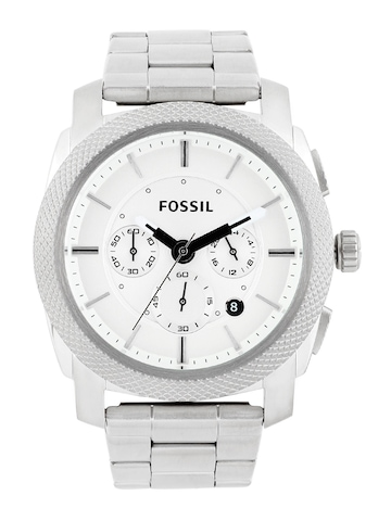Fossil Men Silver-Toned Dial Chronograph Watch FS4663
