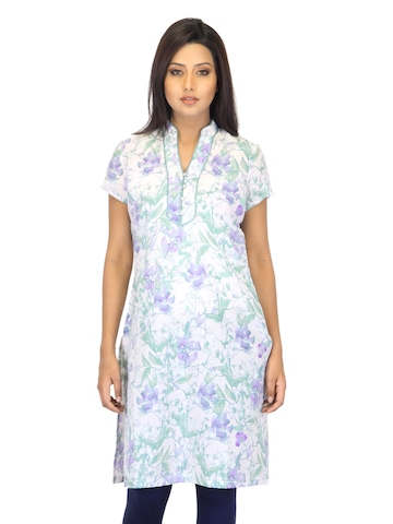 W Women Printed Purple & Green Kurta
