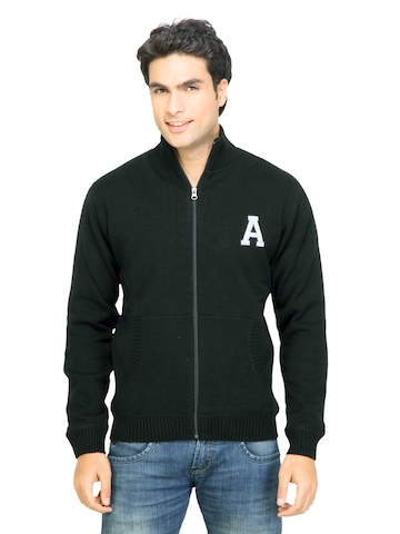 Arrow Sport Men Solid Black Sweaters