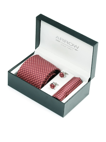 Arrow Men Formal Red Tie+Cufflink+Pocket square - Combo Pack