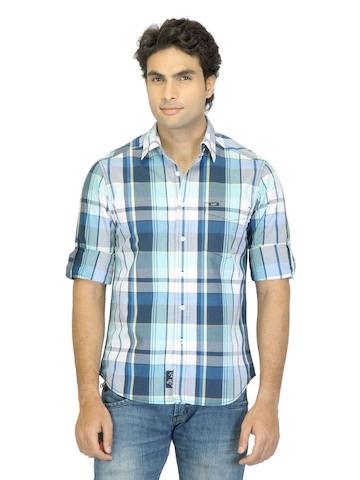 Lee Men Edward Navy Blue & White Check Shirt