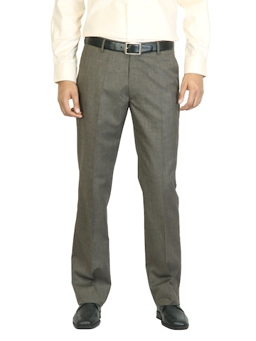 Arrow Men Brown Flat Front Trousers