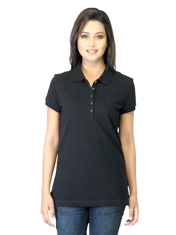 United Colors of Benetton Women Black Polo T-shirt