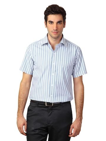 Wills Classic Men White Striped Shirt