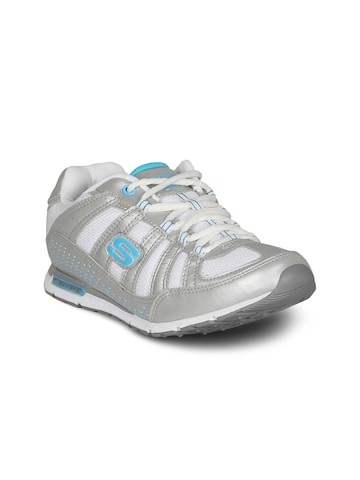 Skechers Women Silver White Blue Shoe