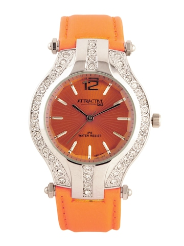 Q&Q Attractive Women Orange Dial Watch