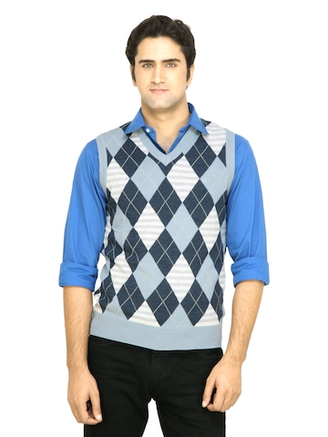 Arrow Men Blue Check Sweater