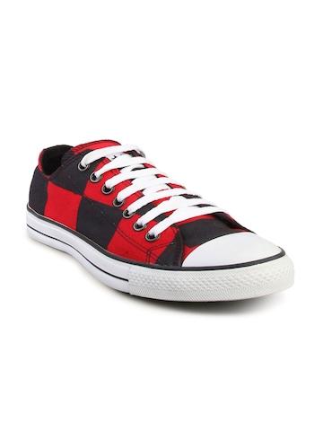 Converse Men's Chuck Taylor Big Check Red Black Canvas Shoe