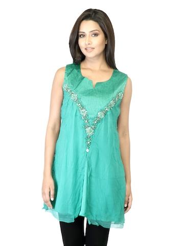 La-Emotio Women Green Kurti