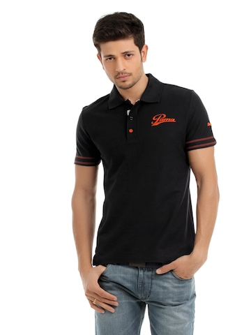 Puma Men Black Polo T-shirt