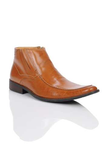 Homme Men Tan Semi Formal Ankle Boots