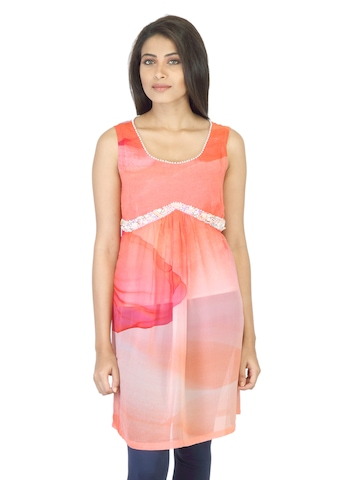 Satya Paul Women Orange Printed Tunic
