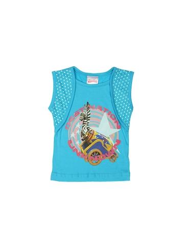 Madagascar3 Girls Blue Printed T-Shirt