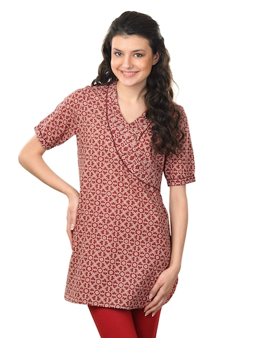 Fabindia Women Printed Red Tunic