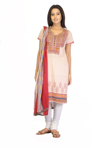 BIBA Women Printed Orange Salwar Suit