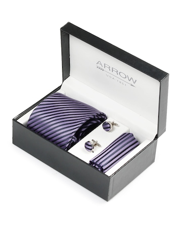 Arrow Men Formal Purple Tie+Cufflink+Pocket square - Combo Pack