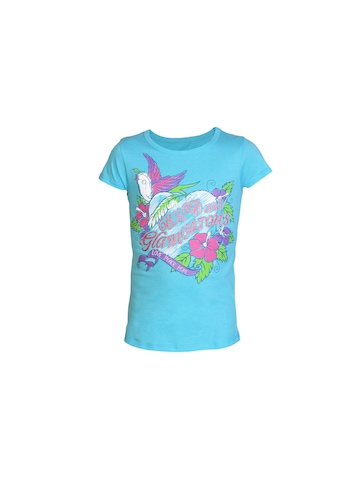 Kids Ville Girls Blue Printed T-shirt