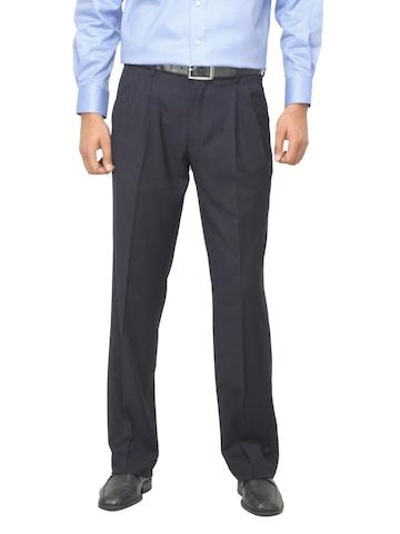 Van Heusen Men Travelite Pleated Navy Blue Trousers