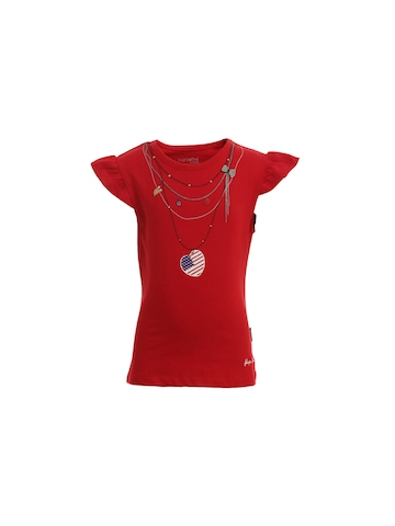 Doodle Girls Red Printed Top