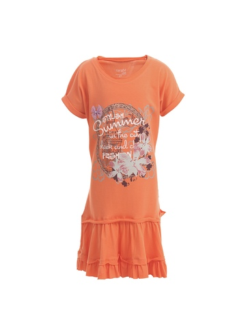Doodle Girls Orange Printed Dress