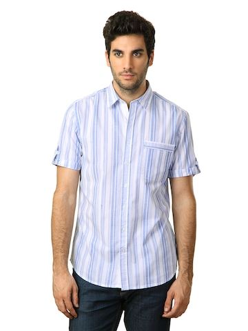 John Players Men Striped Blue Shirt