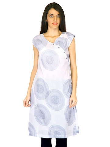 W Women Printed White Kurtas