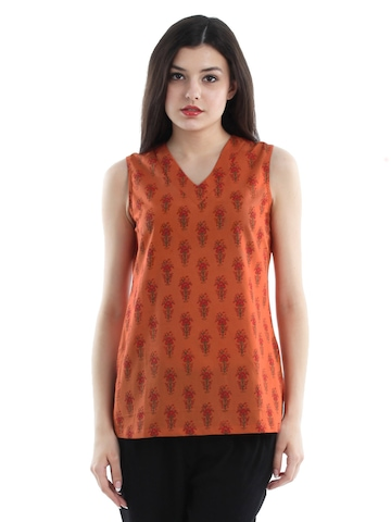 Fabindia Women Orange Kurti