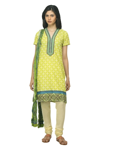 Biba Women Printed Green Salwar Suit