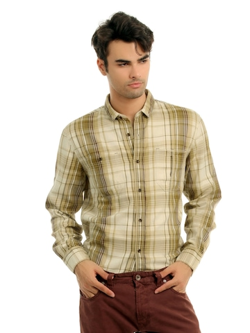 French Connection Men Brown & Beige Shirt