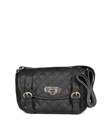 French Connection Women Black Winter Quilt Cross Sling Bag