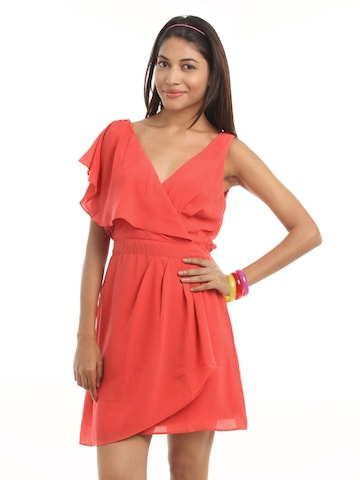 Vero Moda Women Coral Coloured Dress