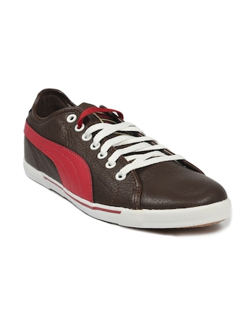 Puma Men's Benecio Leather Brown Red Shoe