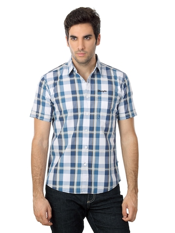 Wrangler Men Blue & White Check Shirt