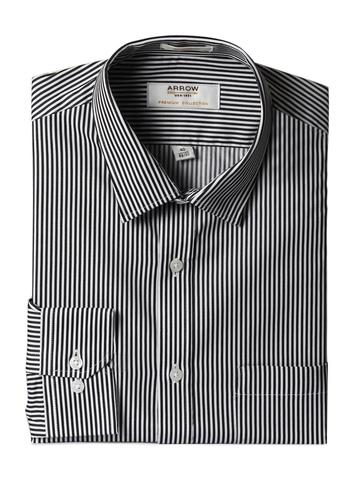 Arrow Men Black Striped Slim Fit Shirt