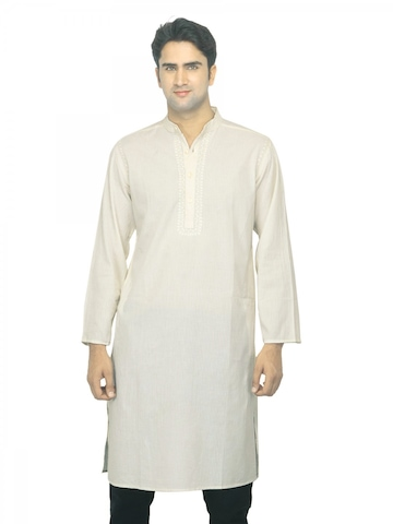 Fabindia Men Striped Cream Cambric Kurta