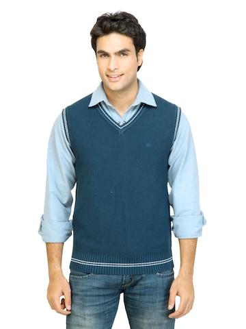 Arrow Sport Men Solid Blue Sweater