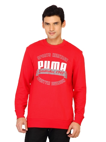 Puma Men Red Sports Heritage Sweatshirt