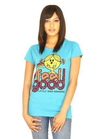 Little Miss Women Printed Blue T-shirt